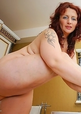 Naughty European housewife taking a bath