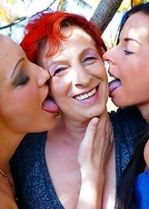 Three old and young lesbians making out and then some